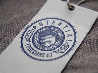 Potential ephesians 4:7 etching oak acorn brand branding logo badge