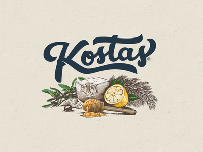 Kostas House Dressing - Ingredients & Label k handlettering goodtype greek pizza salad dressing kostas logo branding brand