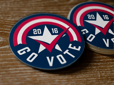 Go Vote! coasters election 2016 vote check flag usa star logo brand