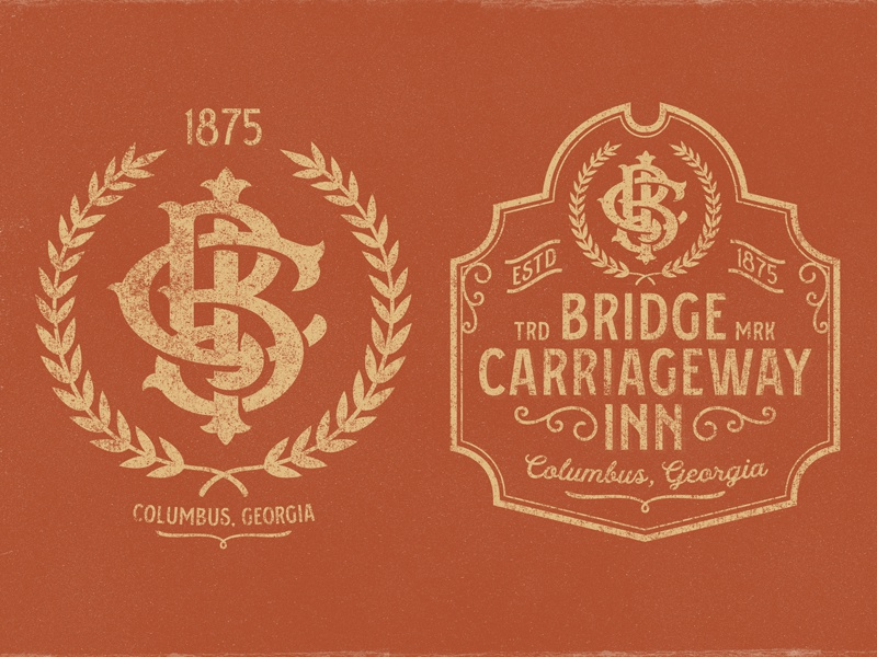 Bridge Carriageway Inn - 1875 1875 terracotta b45233 bnb bed and breakfast letters bci logo brand monogram