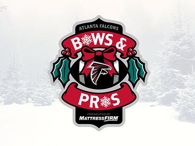 Atlanta Falcons® Bow & Pros ribbons charity football atlanta falcons gifts holly bow brand logo christmas badge