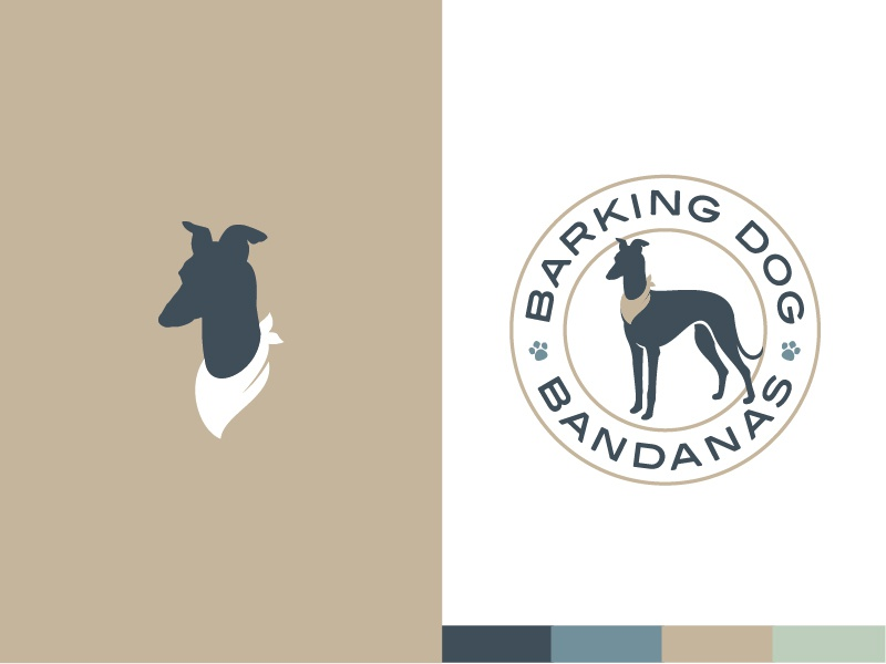 Barking Dog Bandanas™ tan green dog clothes gold blue bandanas italian greyhound dog logo badge brand branding