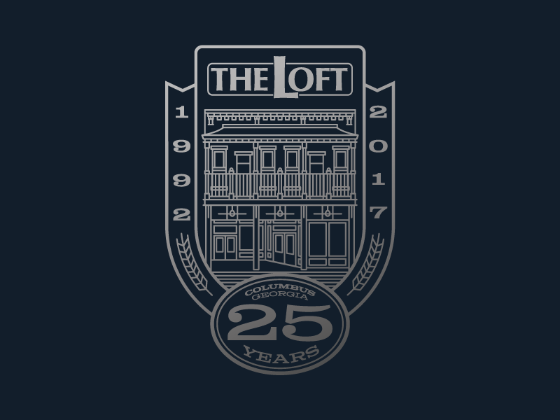 The Loft - 25 Years!! 25 25 years bar monoline building the loft brand logo badge