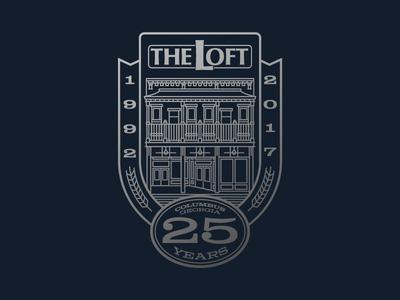 The Loft - 25 Years!! 25 25 years bar monoline building the loft brand logo badge