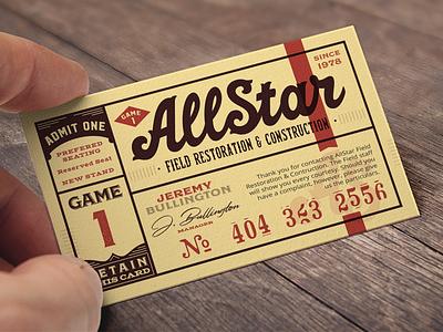 AllStar Field Restoration™ Brand & Card logo construction throwback branding vintage lettering business card ticket basball