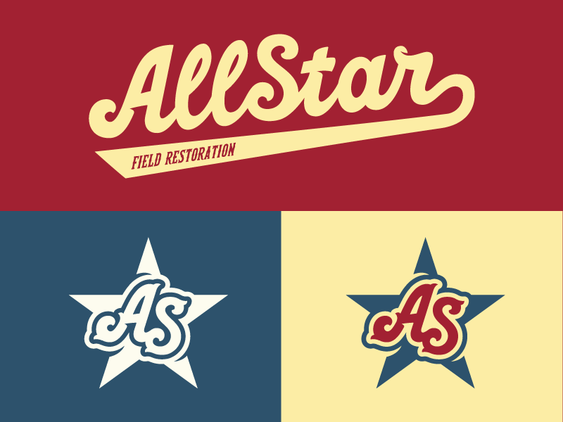 AllStar Brand Alternate Logos vintage throwback old school logo lockup lettering baseball field construction logos sports branding