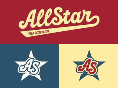 AllStar Brand Alternate Logos vintage throwback old school logo lockup lettering baseball field construction logos sports branding