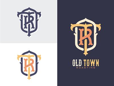 Old Town Roasting® old town california roaster roasting coffee r t o monogram logo branding