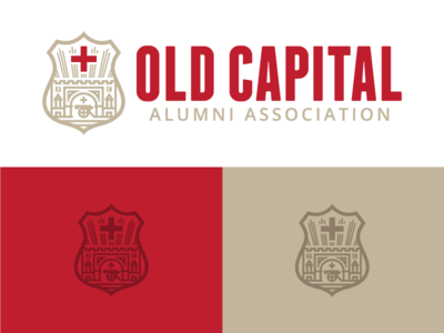 Old Capital Alumni Association™ ga milledgeville ka fraternity badge thick to thin lines monoline logo branding