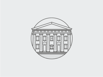 First Baptist Church Badge mono-line weight columns building circle church logo badge