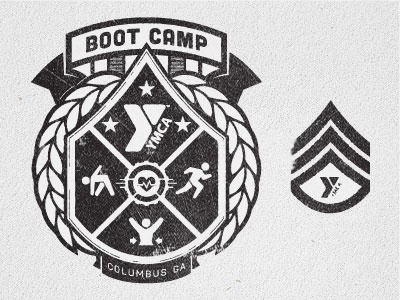 YMCA Boot Camp Shirt ymca bootcamp shit tee military insignia crest badge fitness health heart running exercise columbus ga laurels emblem