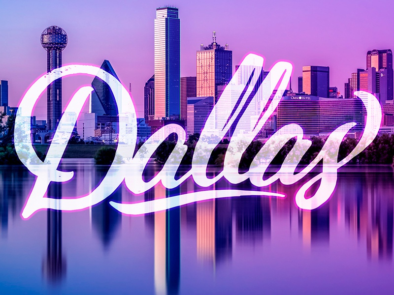 Dallas. Catteack BBQ. All I need to say. See Attached. texas bbq d just for fun purple city script dallas