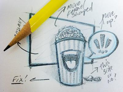 Grab-a-Bucket Sketch grab a bucket popcorn cartoon movies movie talk bubble screen
