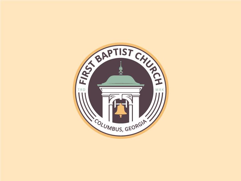 First Baptist Church - Tertiary Badge baptist bell tower bell logo church logo church branding branding brand