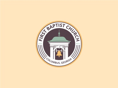 First Baptist Church - Tertiary Badge baptist bell tower bell logo church logo church branding branding brand