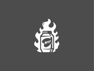 """Mayo On Fire"" grey mayo fire studio team icon system fun brand logo"