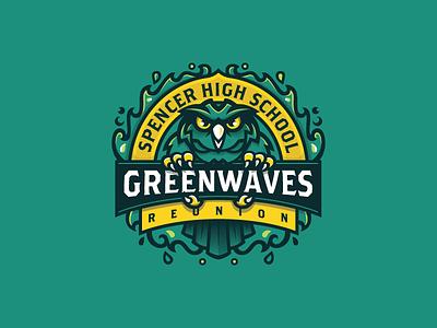 Spencer HS Reunion waves gold green owl tshirt reunion high school sports logo branding