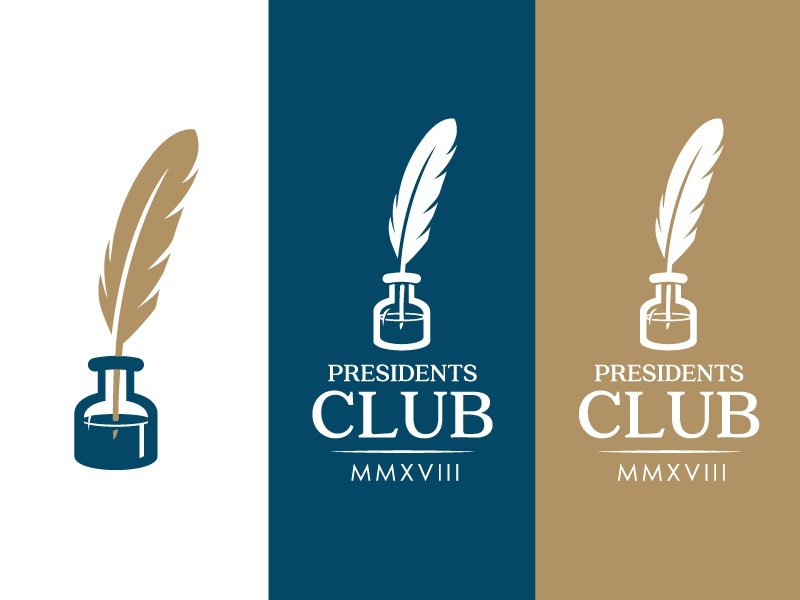 New Mark for The President's Club alfac quill tip inkwell 30 minutes - feather branding logo