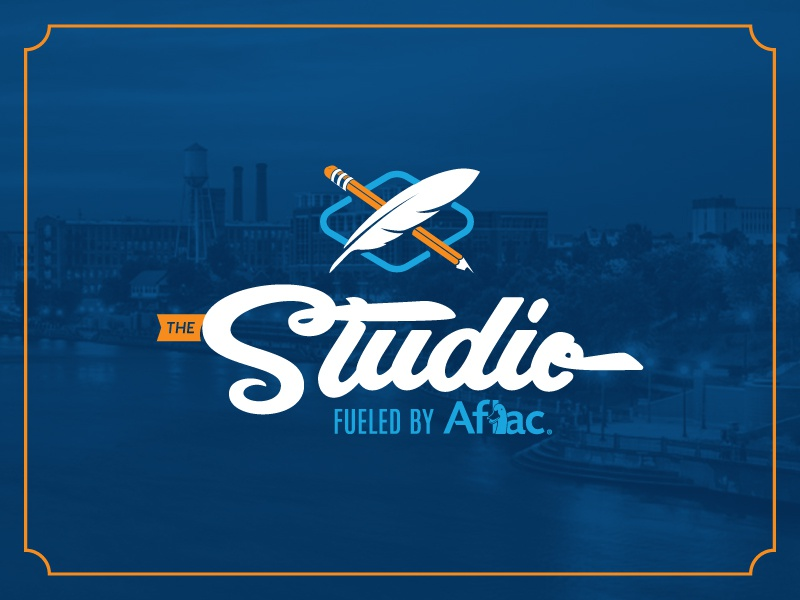 Studio Script & Fun Mark for fun crossed the studio aflac feather pencil branding logo