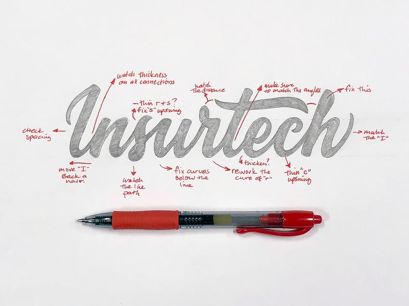 Insurtech™ Logotype insurance sketch process script lettering brand hand lettered logotype logo branding