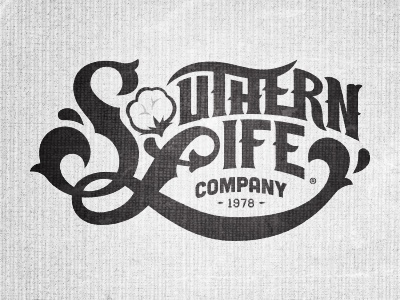 Southern Life WIP southern life type handdrawn lettering logo cotton company 1978 year south worn