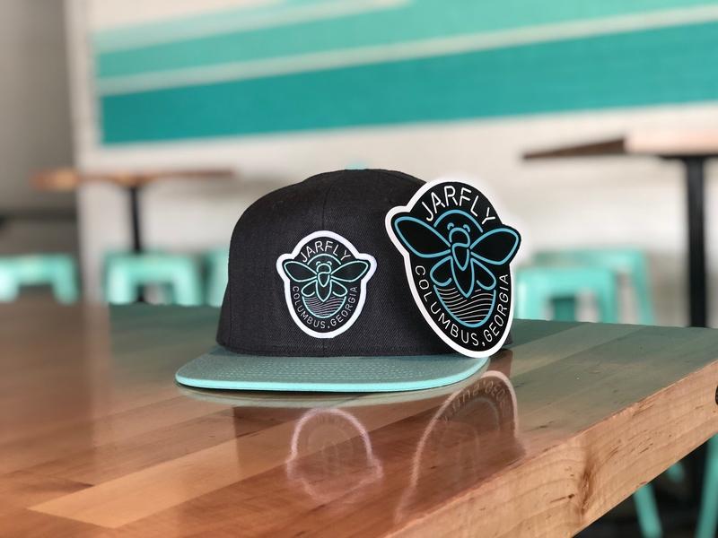 Jarfly® Hat & Sticker bugs neon neon sign cicadas jarfly teal restaurant brand identity branding brand logo design logo