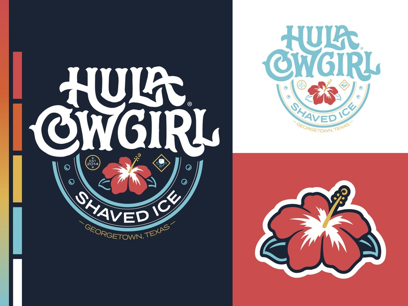 Hula Cowgirl® Shaved Ice icecream frozen hibiscus shaved ice lettering art brand identity typography design illustration lettering badge logo brand