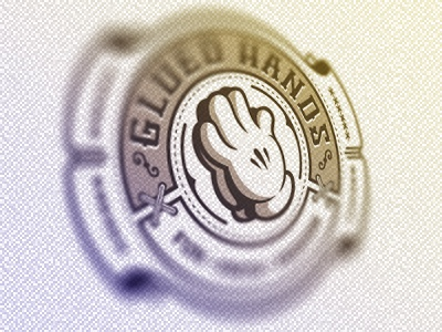 Glued Hands Logo Badge blurry blurred blur lol glue hands glued hand cartoon fun faith label fashion clothing apparel logo tag stiches badge