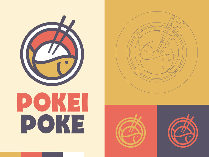 Pokei Poke badge chopsticks fish restaurant food branding logo poke