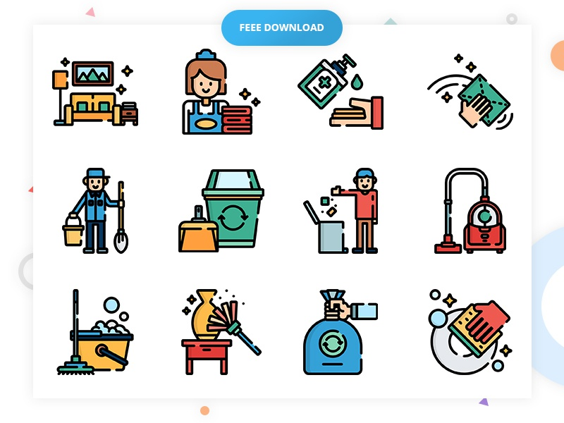 Download 50 Free Cleaning Icon Set | Vector, PSD, EPS, SVG, PNG,