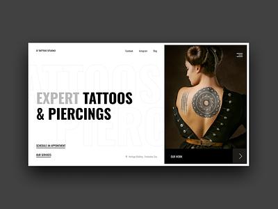 Tattoo studio webpage website design card ux layout landing page ui