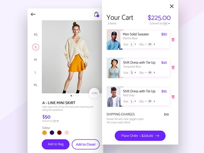 Product & cart page concept