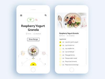 Recipe App diet food mobile ios card recipe interaction ux ui app