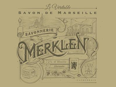 Savonnerie Merklen - The real Marseille Soap graphic design typo typography traditional brand design branding illustration