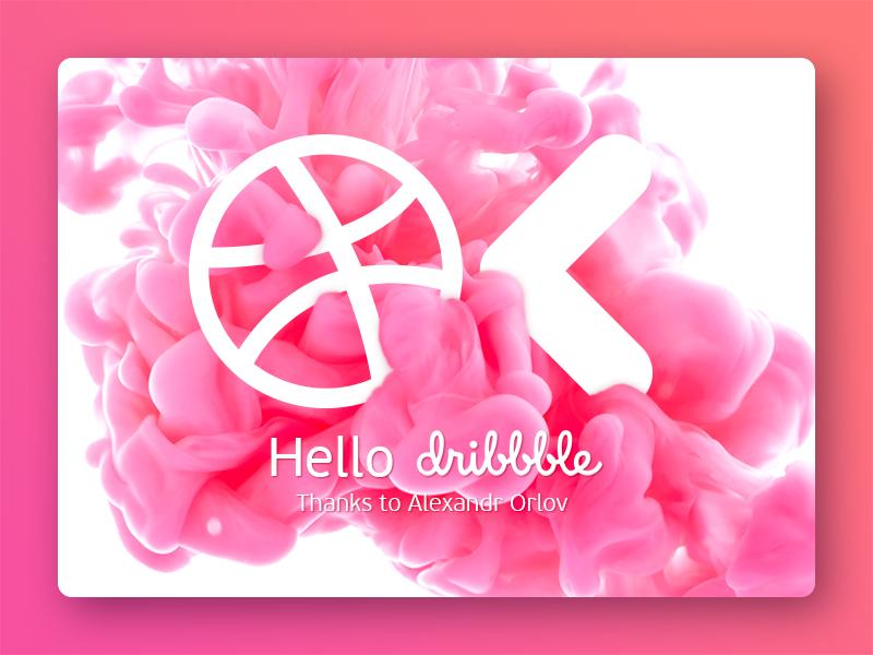 Ok :) Hello Dribbble! pink ink okdigital thanks hello invitation firstshot dribbble design debut