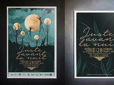 Juste avant la nuit poster design typography vector illustration