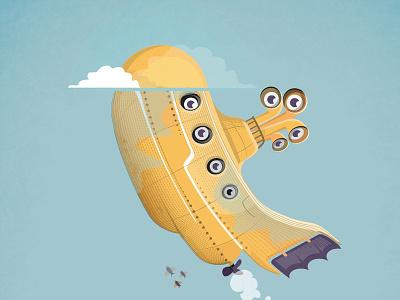Happy Day beatles poster submarine yellow illustration
