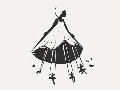 Illustration Robe de papiers swing woman dress black  white illustration