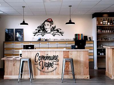 La Commune Vape shop bar decoration deco logo design wall decal design indenty brand