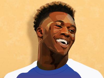 Callum Hudson-Odoi winger callum goal england chelsea fc character soccer football illustration design