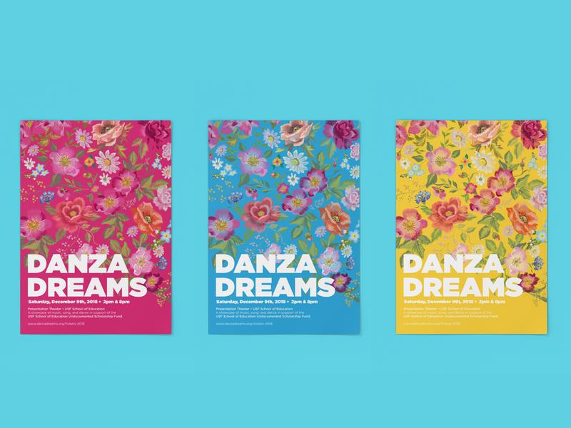 Danza Dreams poster embroidery floral vector branding mexican illustration design typography san francisco latinx