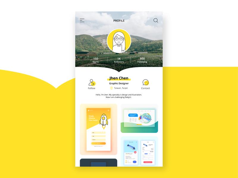 Daily UI Challenge #006|User Profile profile user profile ui illustrator appdesign app practice design dailyui