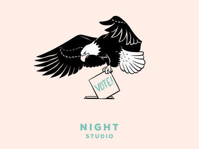 Drop in, fly free chicago illustration night studio vote eagle