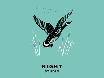 Swoop on by wildlife hunting illustration goose night studio