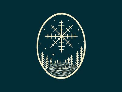 Snay forest winter design illustration badge emblem snow