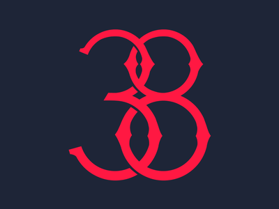 Thirty Eight eight three lettering numbers design