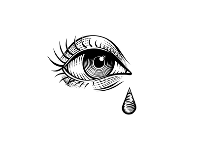 Forever Sorry woodcut teardrop cry sad eye tear design illustration