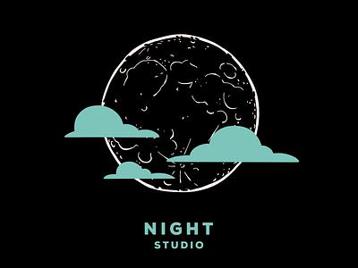 Rain or Shine night studio night clouds moon branding design illustration