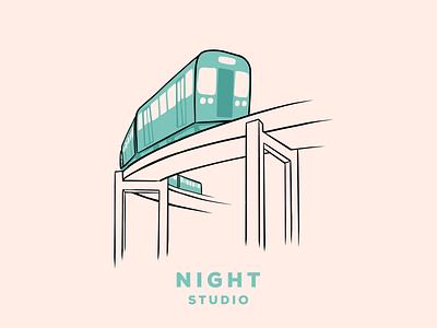 Stop By night studio chicago public transportation train branding design illustration