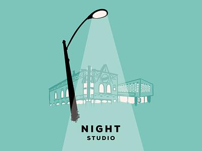 Place to be night studio buildings street corner corner lamp street light chicago branding design illustration